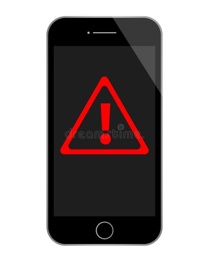 Téléphone noir avec le panneau d'avertissement rouge image stock