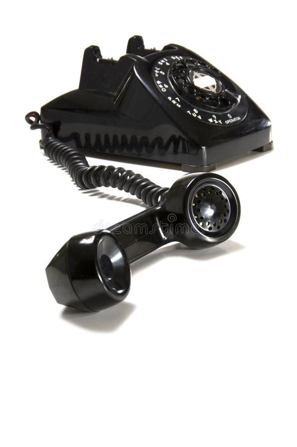 Téléphone noir de bureau de cru images stock