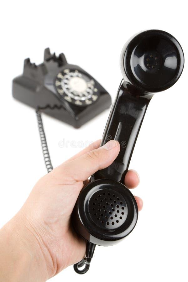 téléphone noir de récepteur photo stock