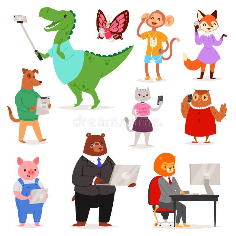 Téléphone ou appareil-photo animalistic de participation de chat ou de chien d'ours de personnage de dessin animé de vecteur d'in illustration stock