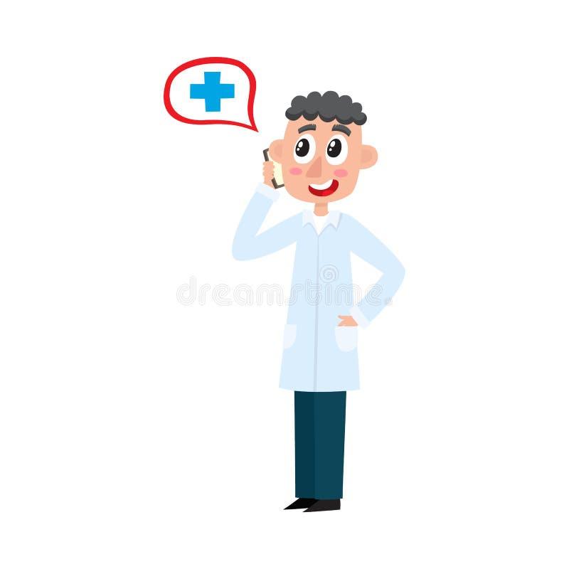 Téléphone parlant de jeune docteur masculin plat de vecteur illustration stock