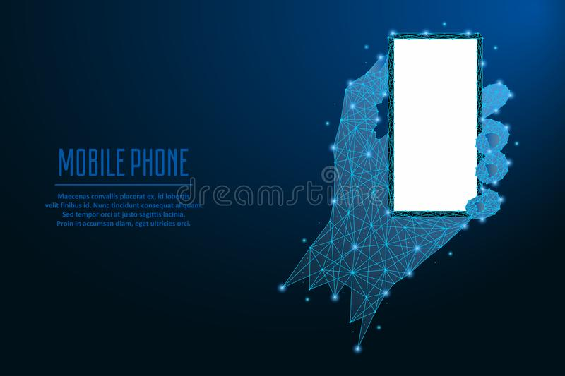 Téléphone portable à disposition Illustration faite par la maille polygonale de wireframe dans la couleur bleue Basse poly main e illustration de vecteur