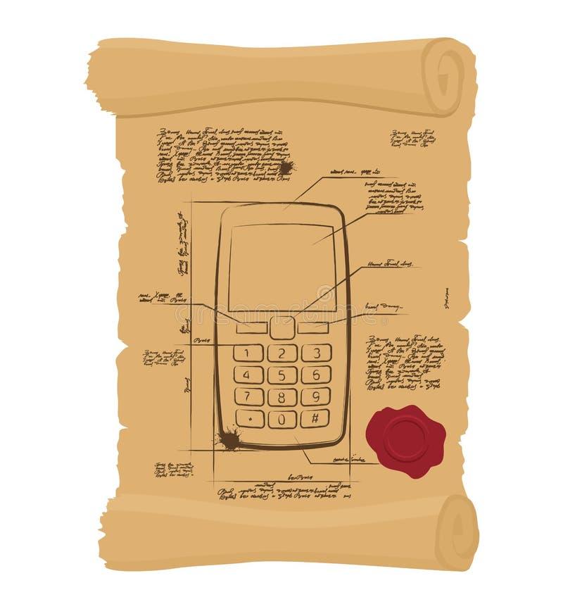 Téléphone portable avec des boutons sur le vieux rouleau Projet de papier d'antique illustration stock