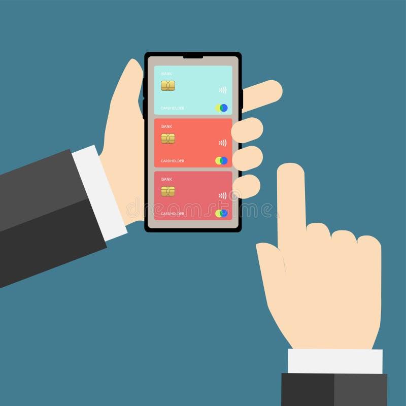 Téléphone portable avec des cartes de banque sur l'écran illustration libre de droits