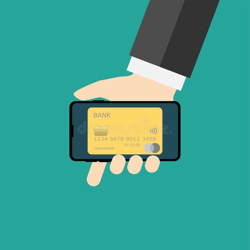 Téléphone portable avec des cartes de banque sur l'écran illustration stock
