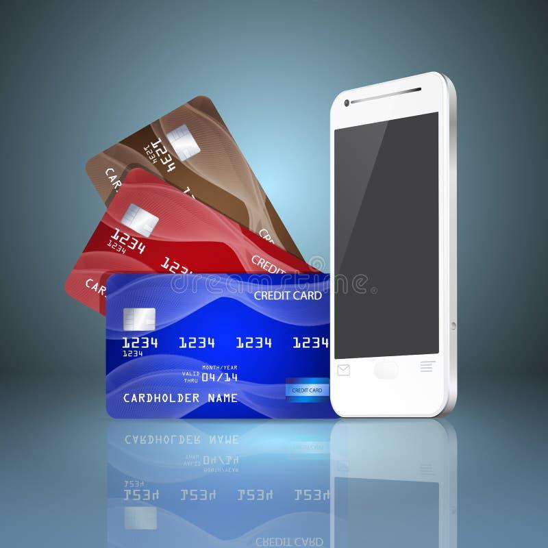 Téléphone portable avec des cartes de crédit sur le fond gris. illustration de vecteur