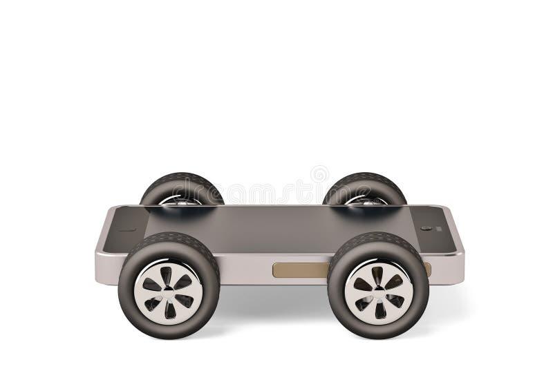 Téléphone portable avec l'écran vide sur des roues sur un fond blanc 3 illustration libre de droits
