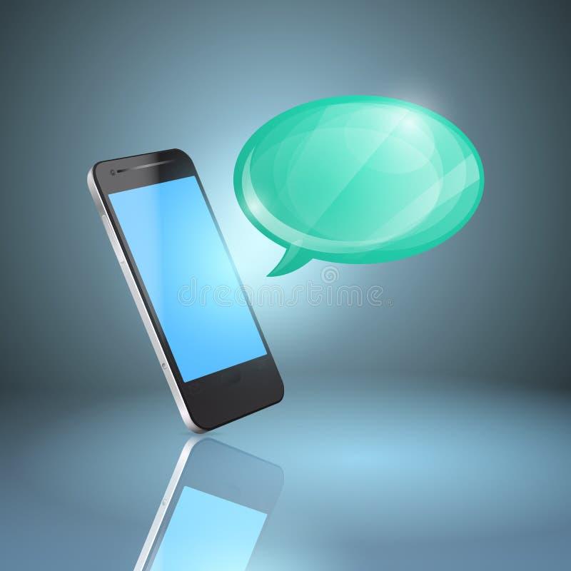 Téléphone portable avec la bulle brillante de la parole. illustration libre de droits