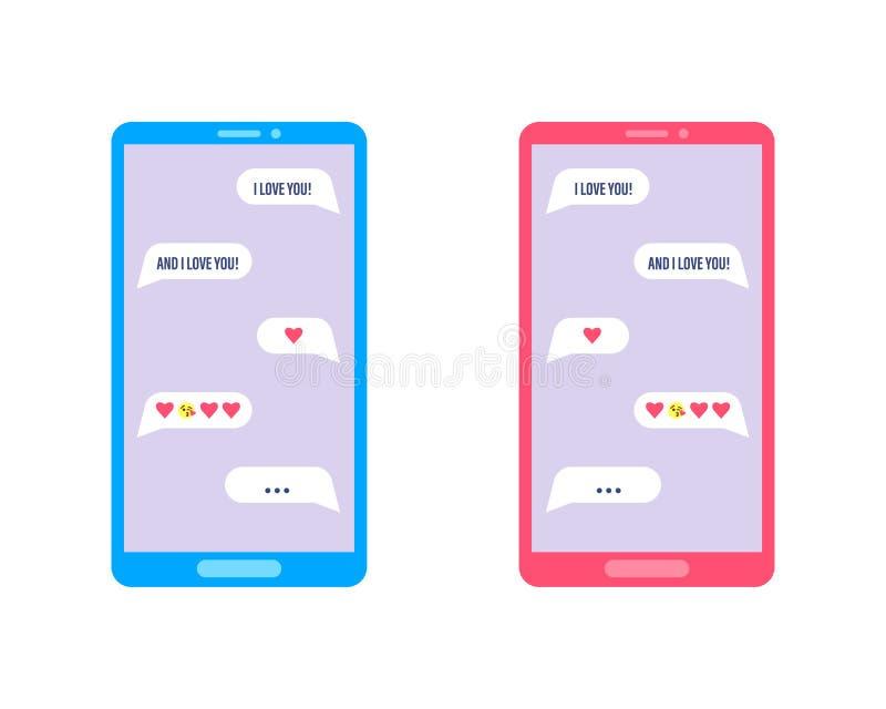 Téléphone portable avec la communication de causerie d'amour Conversation romantique de femme et d'homme dans une causerie au tél illustration libre de droits