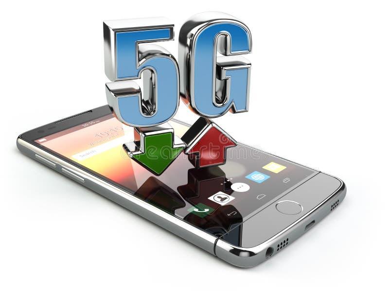 Téléphone portable avec la communication de norme du réseau 5G vitesse possible élevée de disco de fond illustration libre de droits