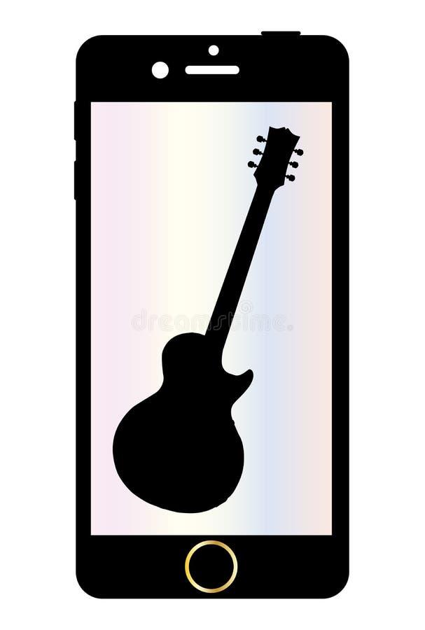 Téléphone portable avec la guitare d'isolement illustration stock