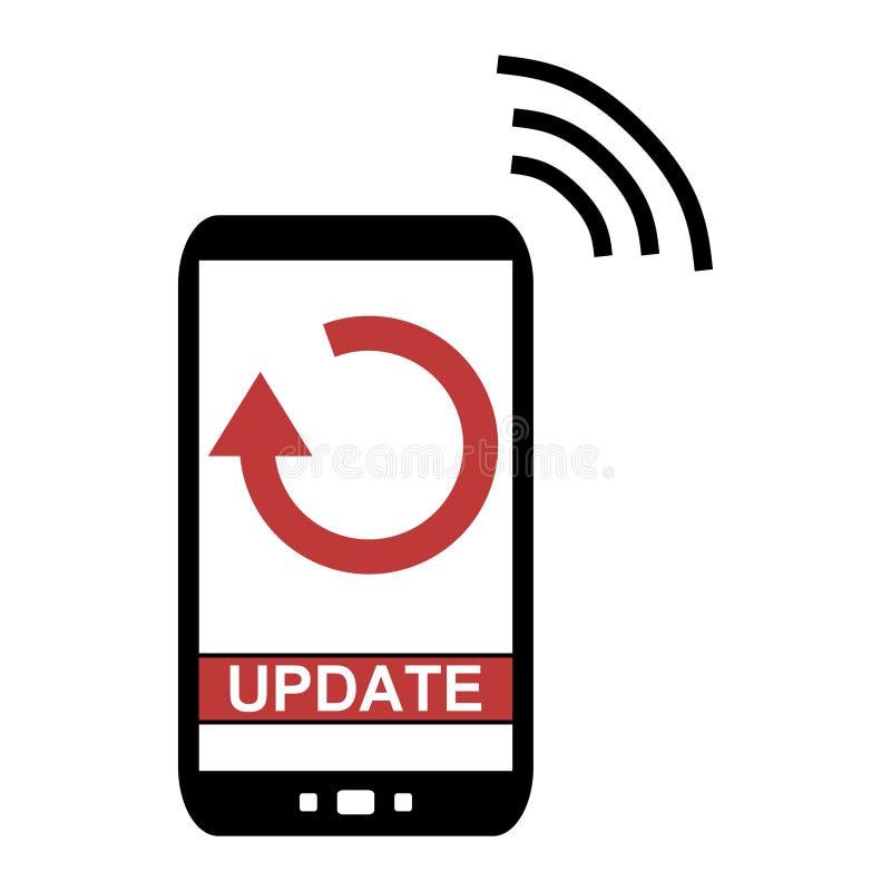 Téléphone portable avec la mise à jour illustration stock