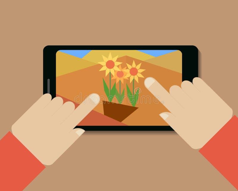 Téléphone portable avec la photo des fleurs et des mains illustration de vecteur