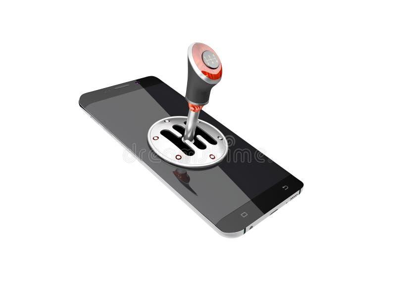 Téléphone portable avec le bâton de vitesse d'isolement sur l'illustration blanche du fond 3D illustration libre de droits