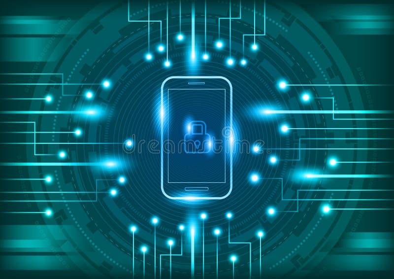 Téléphone portable avec le concept numérique de sécurité illustration stock