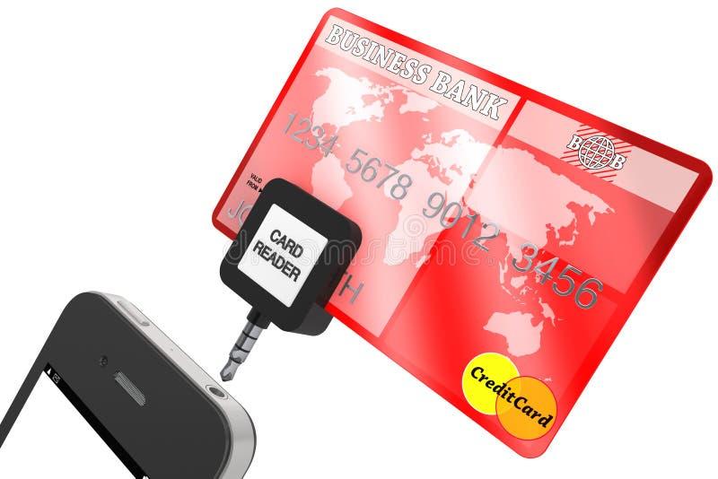 Téléphone portable avec par la carte de crédit illustration stock