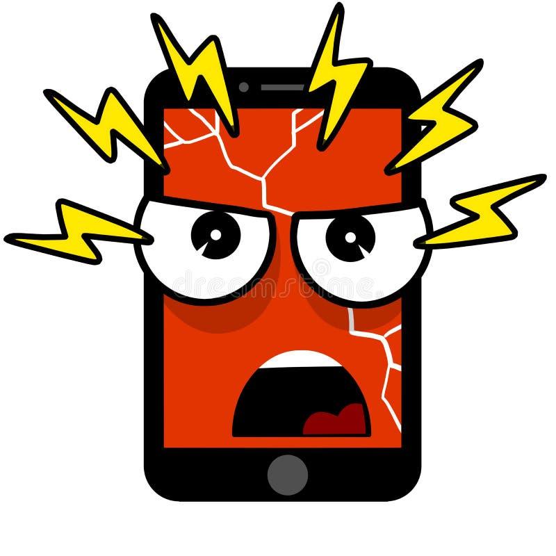 Téléphone portable avec un visage mauvais Illustration plate de bande dessinée illustration libre de droits
