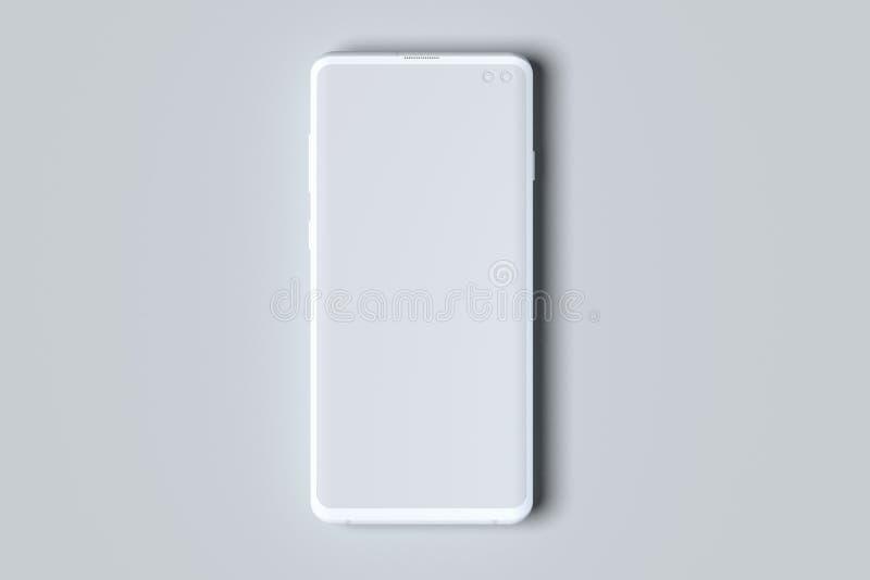 Téléphone portable blanc avec l'écran vide d'isolement sur le fond blanc rendu 3d illustration stock