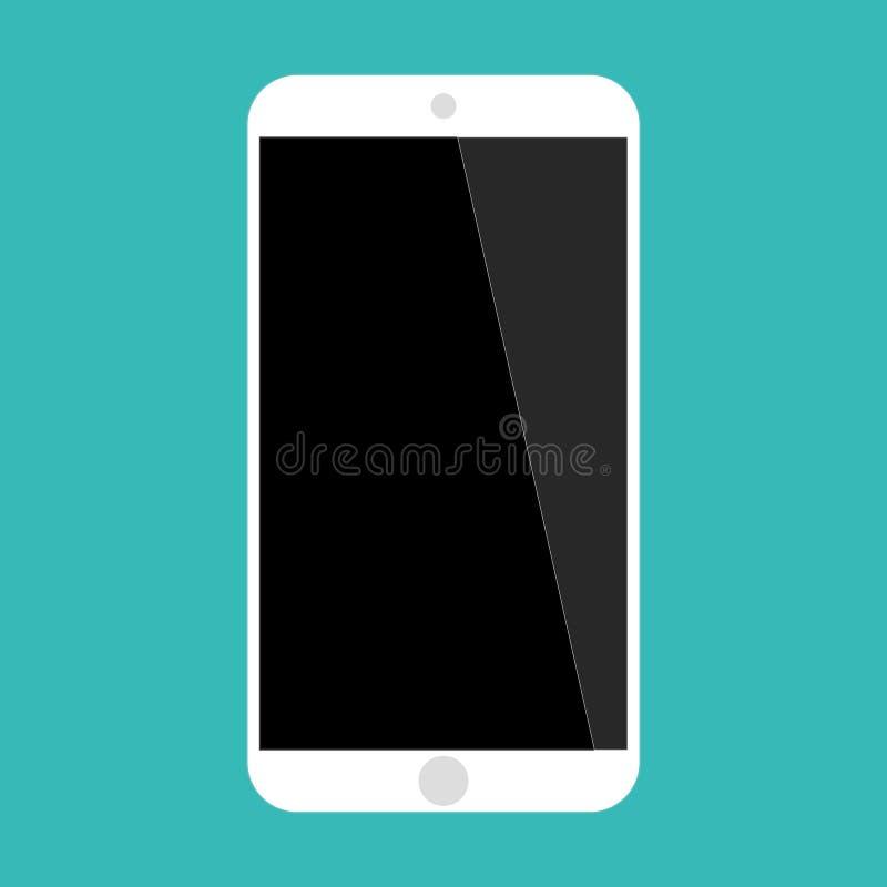 T?l?phone portable blanc de vue de face de couleur de grand smartphone d'?cran sur le vecteur vert eps10 de fond Ic?ne de smartph illustration de vecteur