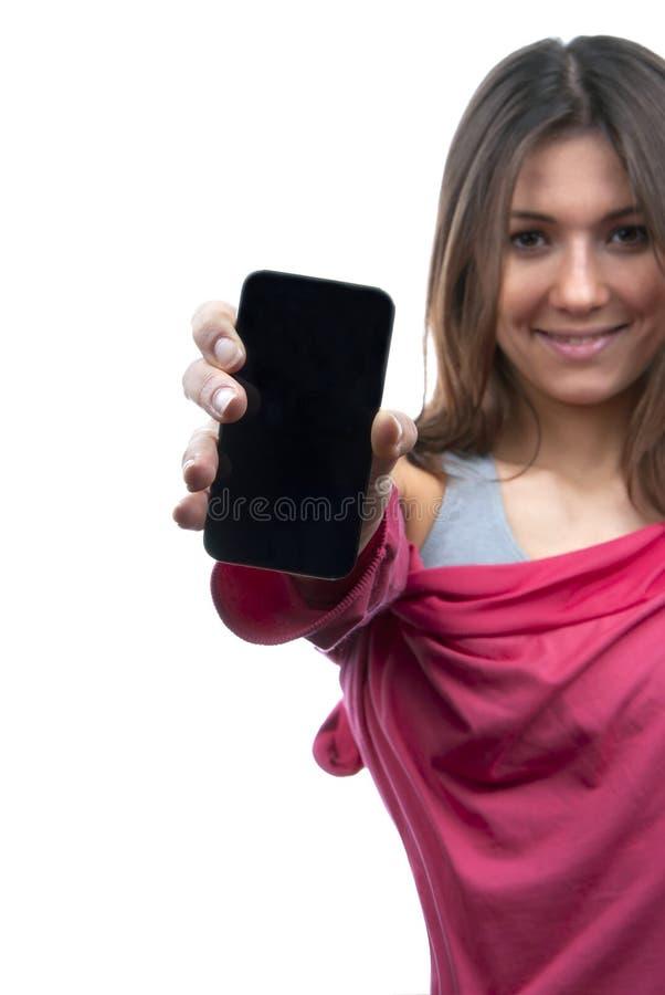 Téléphone portable de mobile d'affichage d'apparence de femme images libres de droits