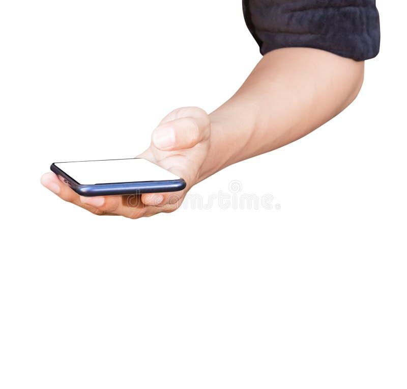 Téléphone portable de participation d'homme de main avec l'écran vide d'isolement sur le fond blanc images libres de droits
