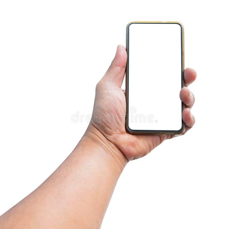 Téléphone portable de participation d'homme de main avec l'écran vide d'isolement sur le fond blanc photo stock
