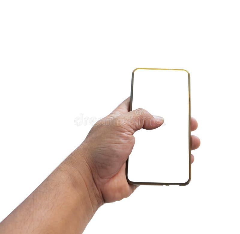 Téléphone portable de participation d'homme de main avec l'écran vide d'isolement sur le fond blanc image stock