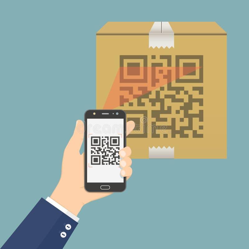 Téléphone portable de participation de main avec l'appli pour balayer le code de QR sur la boîte en carton illustration de vecteur