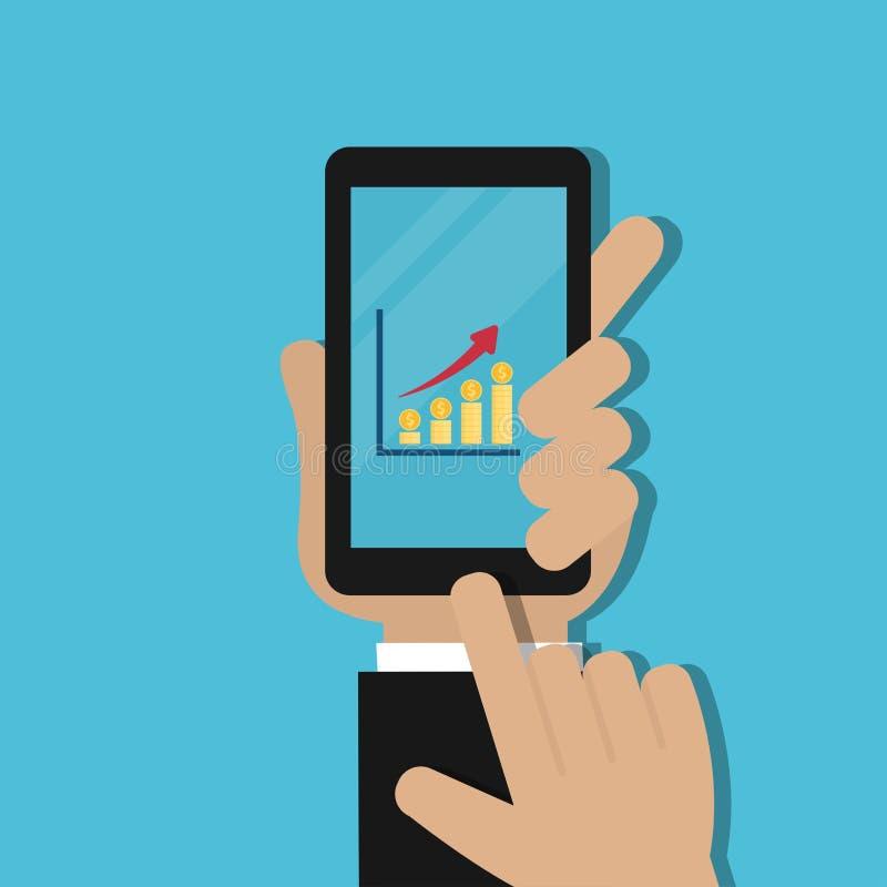 Téléphone portable de participation de main avec le graphique et la pile croissants de pièces de monnaie d'or illustration stock