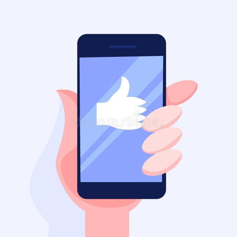 T?l?phone portable de participation de main avec pouces  illustration stock