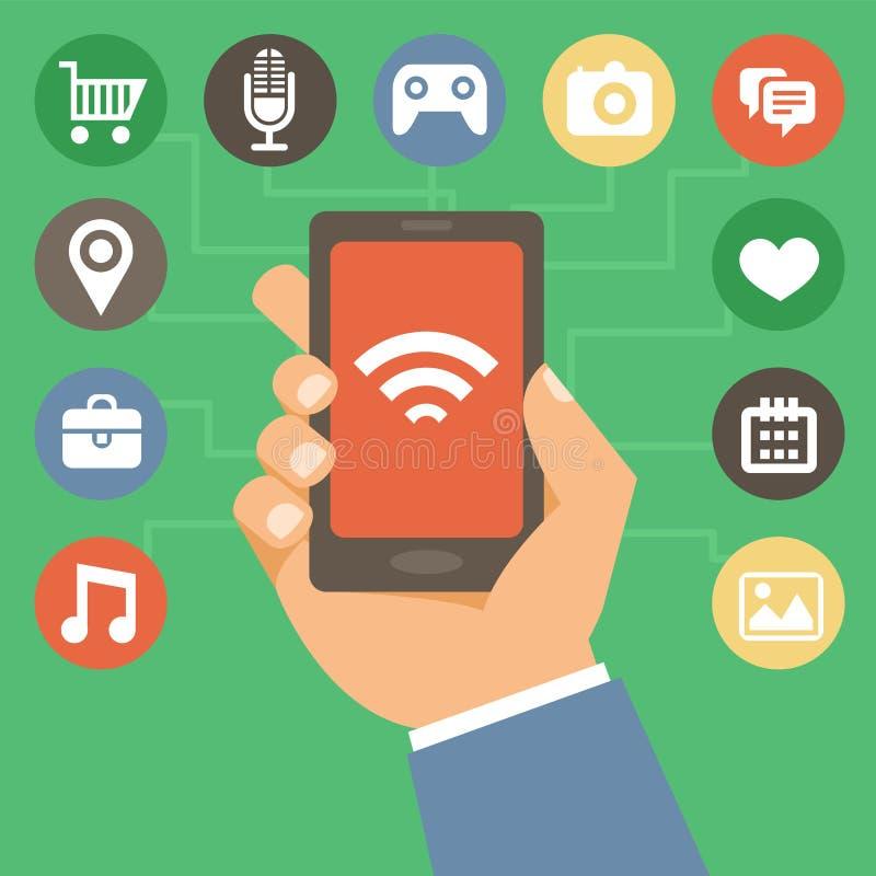 Téléphone portable de vecteur avec des icônes dans le style plat illustration de vecteur