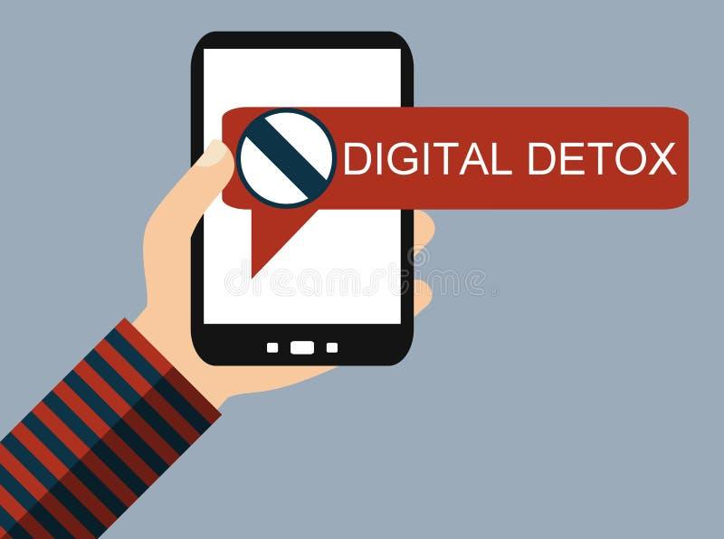 Téléphone portable : Detox de Digital - conception plate illustration stock