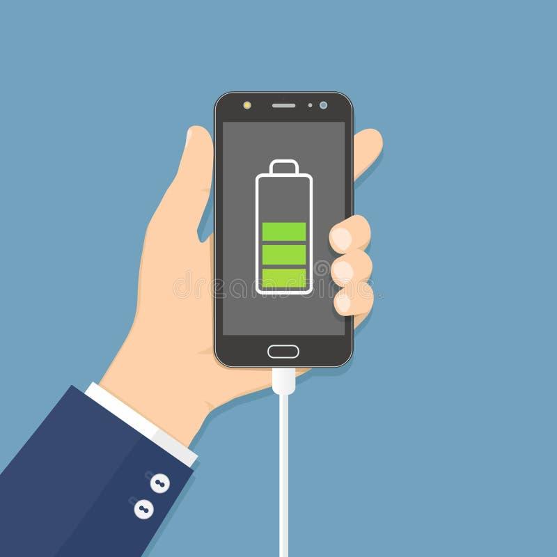 Téléphone portable humain de participation de main avec le chargeur relié illustration stock