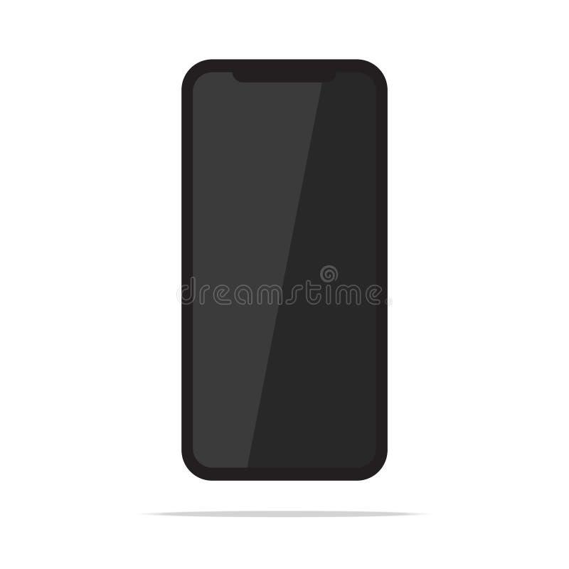 Téléphone portable mobile noir d'isolement sur l'illustration blanche de vecteur de fond Version plate de conception de Smartphon illustration de vecteur