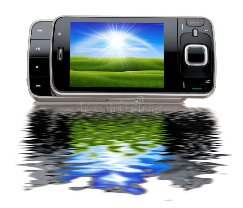 Téléphone portable moderne portatif avec un greenfiel gentil illustration de vecteur