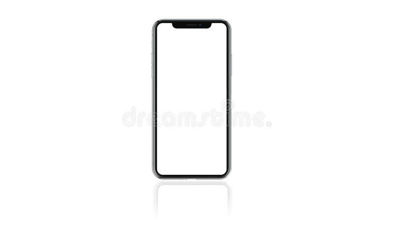 Téléphone portable moderne vide d'isolement sur le fond blanc photographie stock