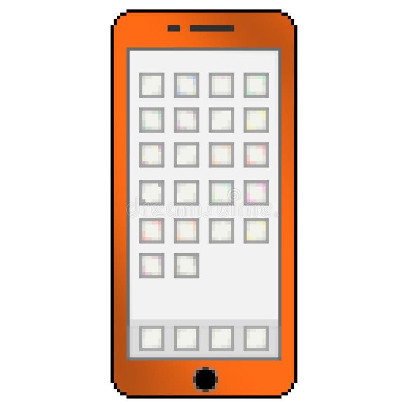 Téléphone portable multicolore tiré de bit du pixel 8 avec les ongles du pouce vides d'appli illustration de vecteur