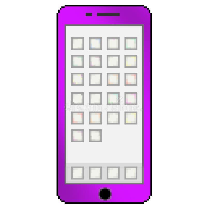Téléphone portable multicolore tiré de bit du pixel 8 avec les ongles du pouce vides d'appli illustration libre de droits
