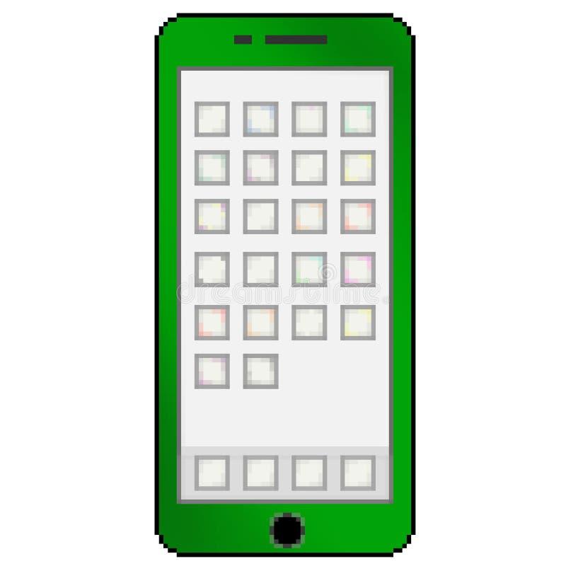 Téléphone portable multicolore tiré de bit du pixel 8 avec les ongles du pouce vides d'appli illustration stock