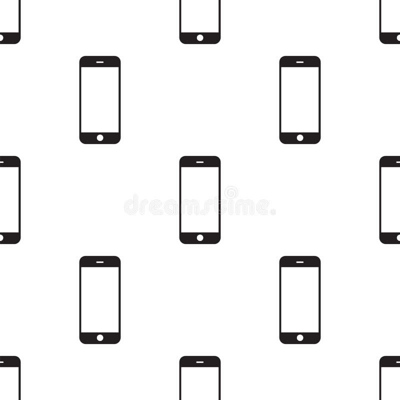 Téléphone portable noir moderne d'écran tactile Smartphone de Tablette d'isolement sur le fond blanc Descripteur de vecteur illustration stock