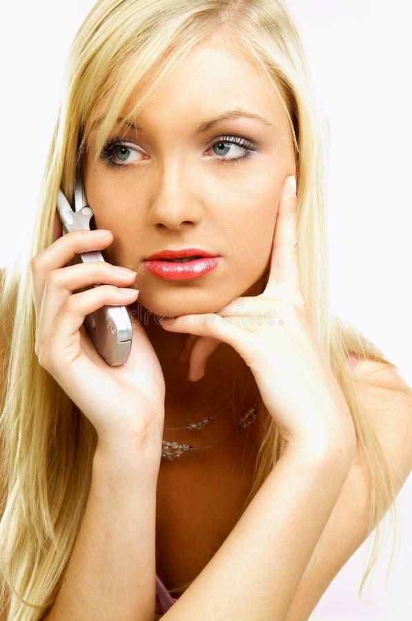 Téléphone portable parlant photographie stock libre de droits