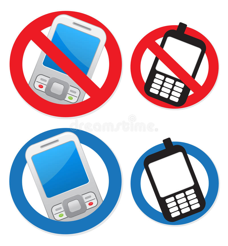 Téléphone portable permis et interdit illustration stock
