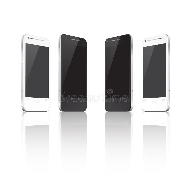 Téléphone portable réaliste dans différentes positions illustration libre de droits