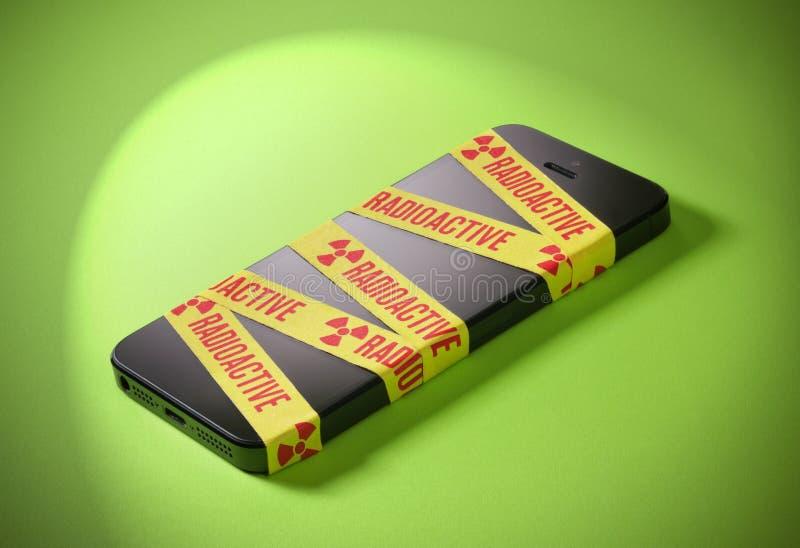 Téléphone portable radioactif de rayonnement images libres de droits