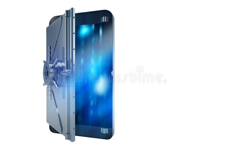 Téléphone portable sûr d'attaque de pirate informatique comme un coffre-fort rendu 3d illustration de vecteur