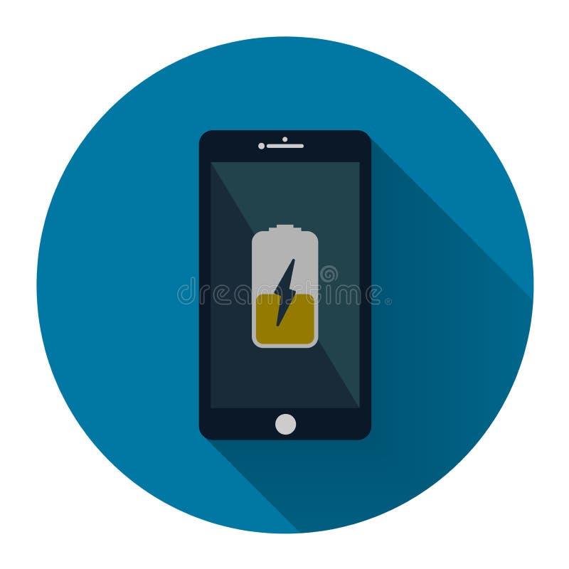 Téléphone portable Smartphone avec l'icône de remplissage jaune de batterie sur le thyristor illustration libre de droits