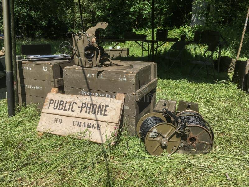 Téléphone public de vitesse militaire des USA photographie stock libre de droits