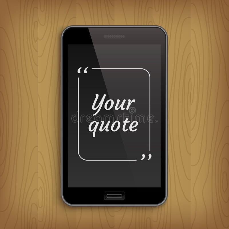 Téléphone réaliste avec la bulle carrée des textes de citation illustration de vecteur