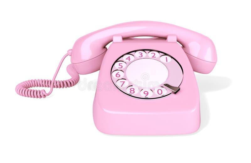 Téléphone rotatoire rose d'isolement photos libres de droits