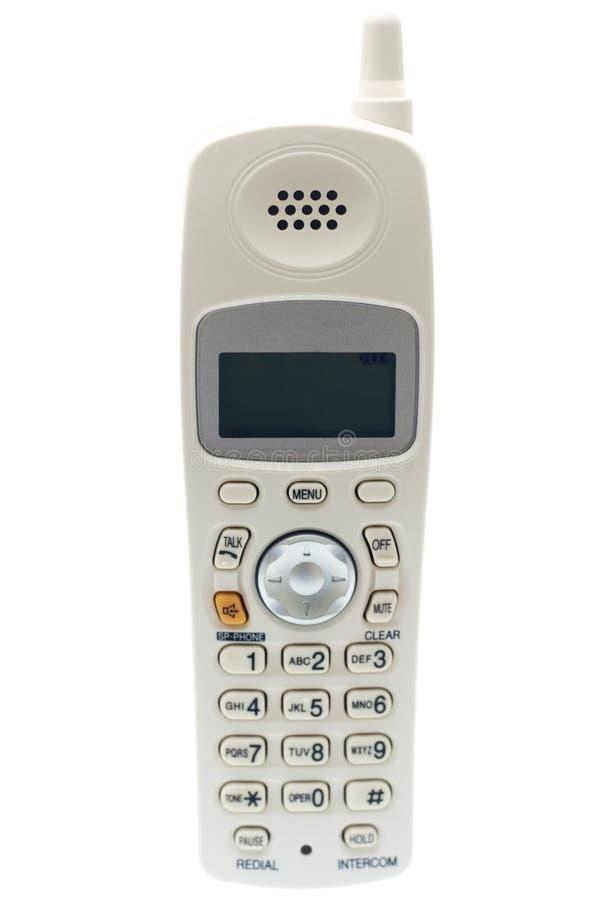 Téléphone sans fil blanc. Avant image libre de droits